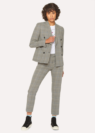Women S Black And White Check Cotton Double Breasted Suit