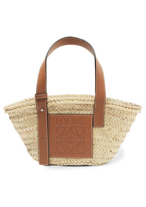 Loewe - Small Leather-trimmed Woven Raffia Tote - Tan