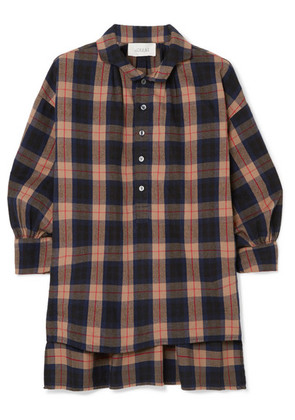 The Great - The Painter's Smock Plaid Cotton-flannel Shirt - Brown