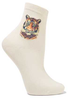 Maria La Rosa - Appliquéd Silk-blend Socks - Ecru