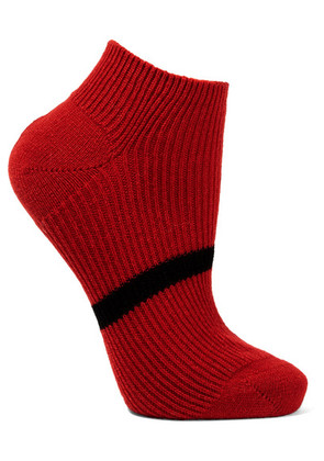 Maria La Rosa - Striped Cashmere Socks - Red