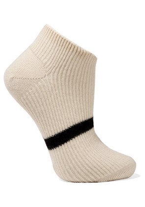 Maria La Rosa - Striped Cashmere Socks - Ecru