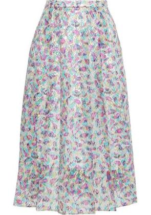 Christopher Kane Woman Fairy Liquid Metallic Printed Lace Midi Skirt Multicolor Size 38