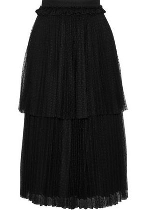 Christopher Kane Woman Tiered Pleated Point D'esprit Skirt Black Size 6