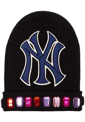 Gucci black NY Yankees patch jewel embellished wool hat