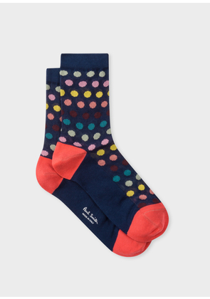 Women's Navy Polka Dot Semi-Sheer Socks