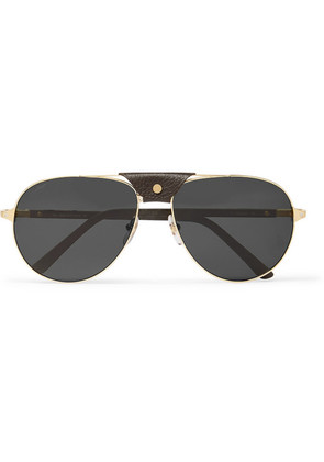 Aviator-style Leather-trimmed Gold-tone Sunglasses