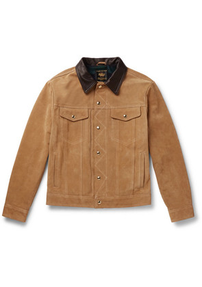 The Holden Leather-trimmed Suede Trucker Jacket
