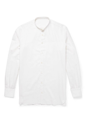 Slim-fit Grandad-collar Cotton And Cashmere-blend Twill Shirt