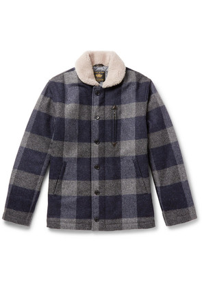 The Cooper Shearling-trimmed Checked Wool Jacket