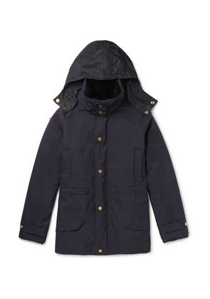 Dunhill - Wool Hooded Field Jacket With Detachable Shearling Lining - Navy