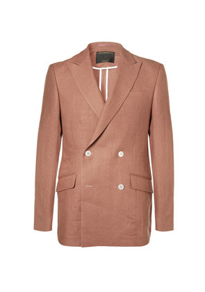 Terracotta Evering Orion Slim-fit Double-breasted Linen Tuxedo Jacket