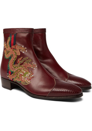 Webbing-trimmed Embroidered Leather Chelsea Boots