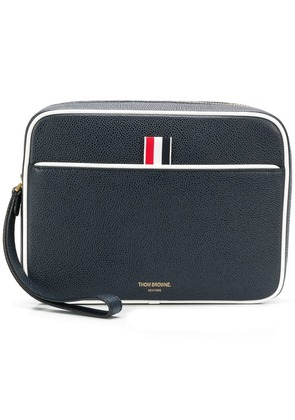 Thom Browne Wrist Strap Pebbled Leather Dopp Kit - Blue