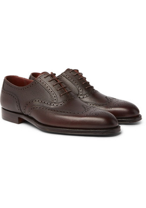 George Cleverley - Reuben Full-grain Leather Wingtip Brogues - Dark brown