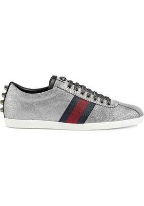Gucci Glitter Web sneakers with studs - Grey