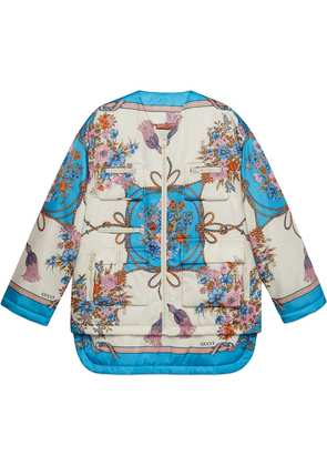 Gucci Padded nylon jacket with flowers and tassels - White