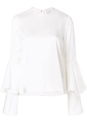 Galvan flared layered longsleeved blouse - White