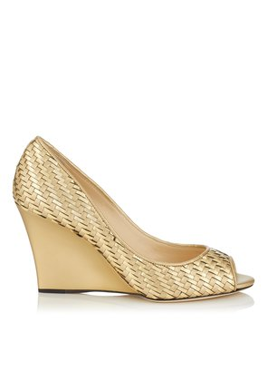 BAXEN Open Toe Wedge in Gold Mix Woven Metallic Fabric