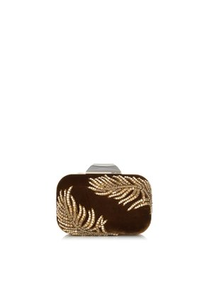 CLOUD Small Amber Velvet Clutch with Crystal Feathers Embroidery