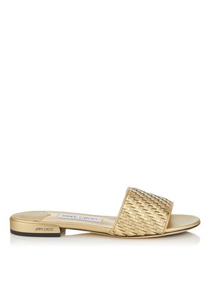 JONI FLAT Gold Mix Slides in Woven Metallic Fabric