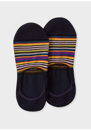 Women's Dark Navy Multi-Colour Striped Loafer Socks