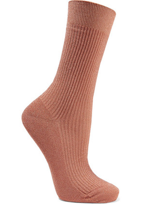 Maria La Rosa - Metallic Ribbed-knit Socks - Bronze