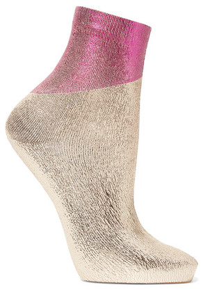 Maria La Rosa - Two-tone Metallic Silk-blend Socks - Silver
