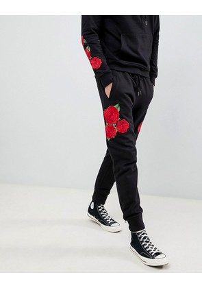 Brave Soul Skinny Fit Drop Crotch Rose Embroidered Joggers - Black