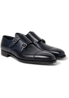 George Cleverley - Thomas Leather Monk-strap Shoes - Midnight blue