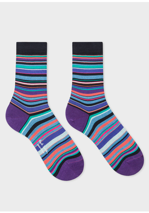 Women's Dark Navy Socks With Violet And Blue Stripes