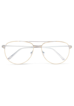Cartier Eyewear - Aviator-style Gold-plated And Silver-tone Optical Glasses - one size
