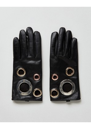 ASOS Black Leather Eyelet Glove With Touch Screen - Black