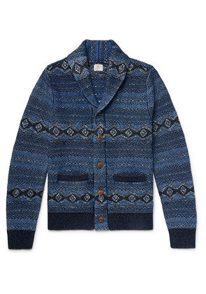 Indigo Shore Slim-fit Shawl-collar Cotton-blend Jacquard Cardigan