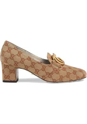 Gucci GG canvas mid-heel pump with Double G - Neutrals