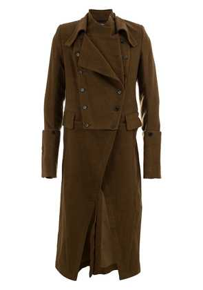 Ann Demeulemeester draped trench coat - Brown