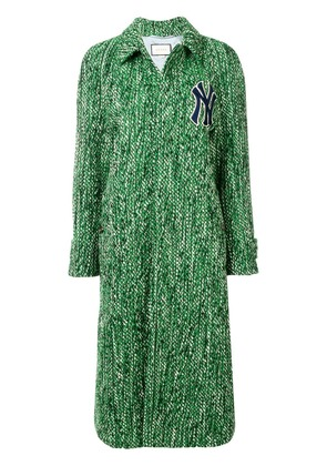 Gucci Yankees patch tweed coat - Green