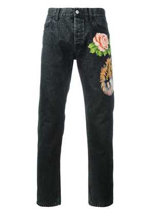 Gucci tiger and floral appliqué tapered jeans - Black