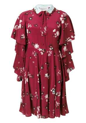 Valentino Crepe De Chine floral print dress - Red