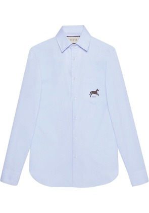 Gucci Cotton shirt with horse fil coupé - Blue