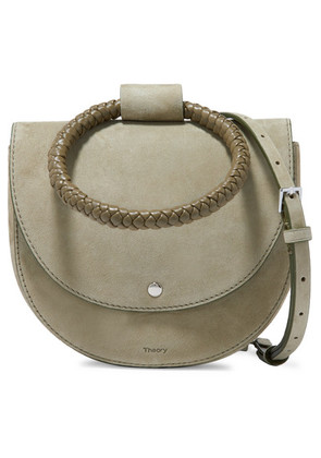 Theory - Whitney Small Braided Leather And Suede Shoulder Bag - Army green