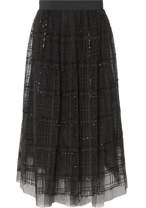 Brunello Cucinelli - Sequin-embellished Embroidered Tulle Midi Skirt - Gray