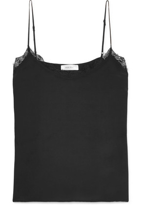 Anine Bing - Lace-trimmed Washed-silk Camisole - Black