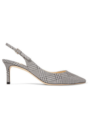 Jimmy Choo - Erin 65 Glittered Prince Of Wales Checked Leather Slingback Pumps - Silver