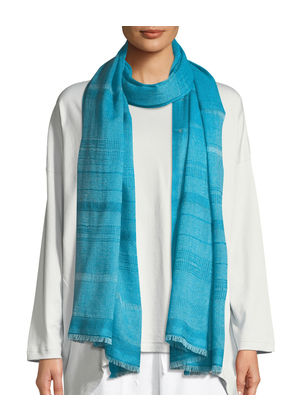Two-Tone Open-Weave Hand-Woven Cashmere Scarf