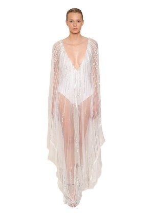 SEQUIN & BEAD EMBELLISHED TULLE CAFTAN
