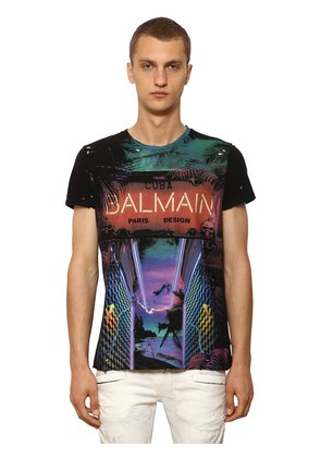 DESTROYED PRINTED COTTON JERSEY T-SHIRT