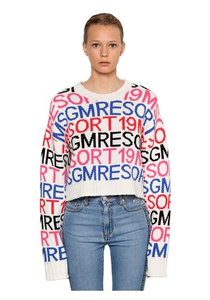 CROPPED INTARSIA COTTON BLEND SWEATER