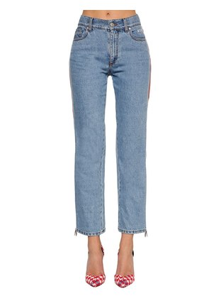 MID RISE SLIM FIT JEANS W/  SIDE BANDS
