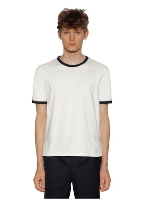 COTTON JERSEY T-SHIRT W/ STRIPE DETAILS